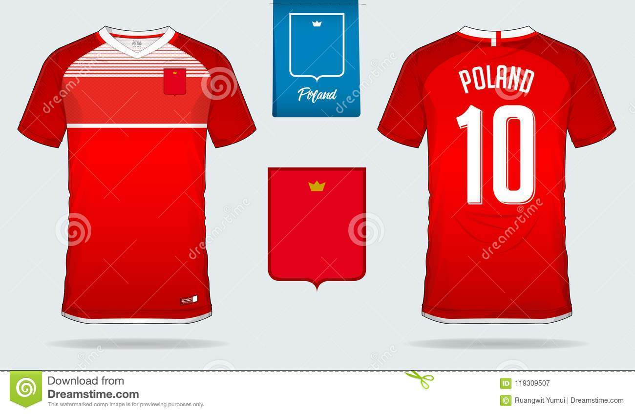 Soccer Jersey Or Football Kit Template Design For Poland National Team Front And Back