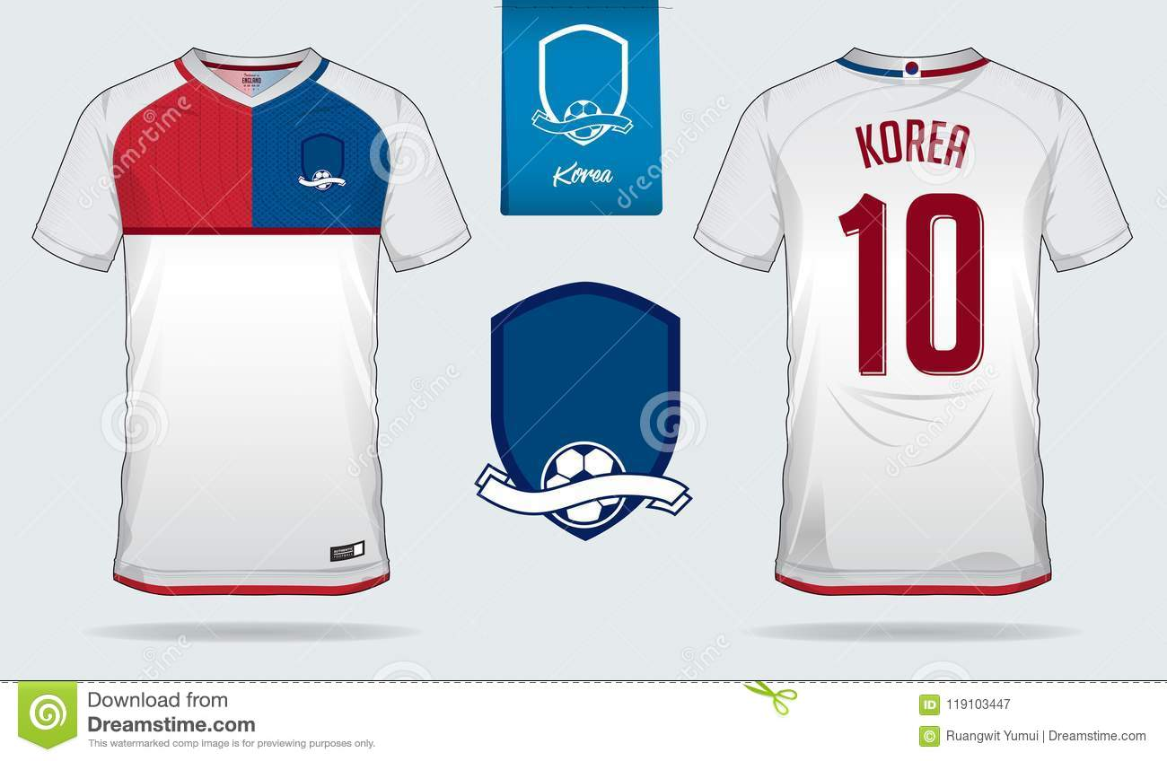 104229b37 Soccer jersey or football kit template design for South Korea national  football team. Front and back view soccer uniform. Royalty-Free Vector