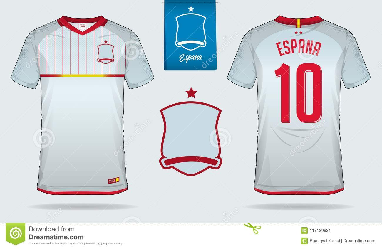 a8fb7f4f5 Soccer jersey or football kit template design for Spain national football  team. Front and back view soccer uniform. Royalty-Free Vector
