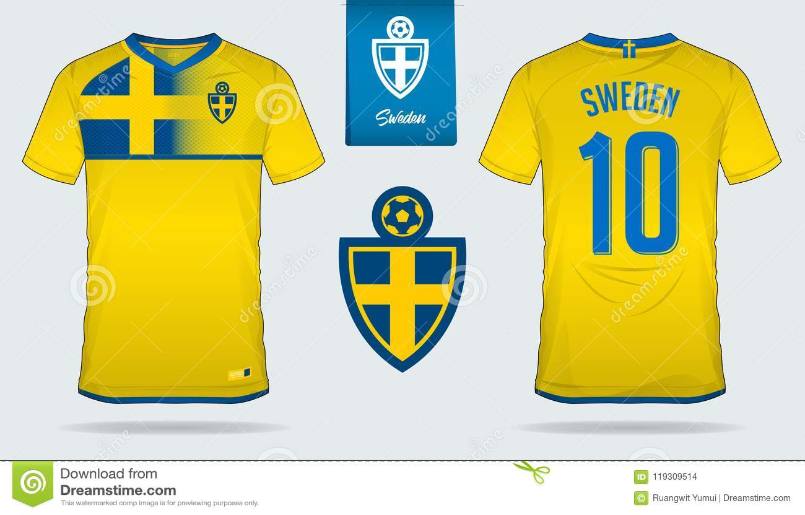 Soccer Jersey Or Football Kit Template Design For Sweden National