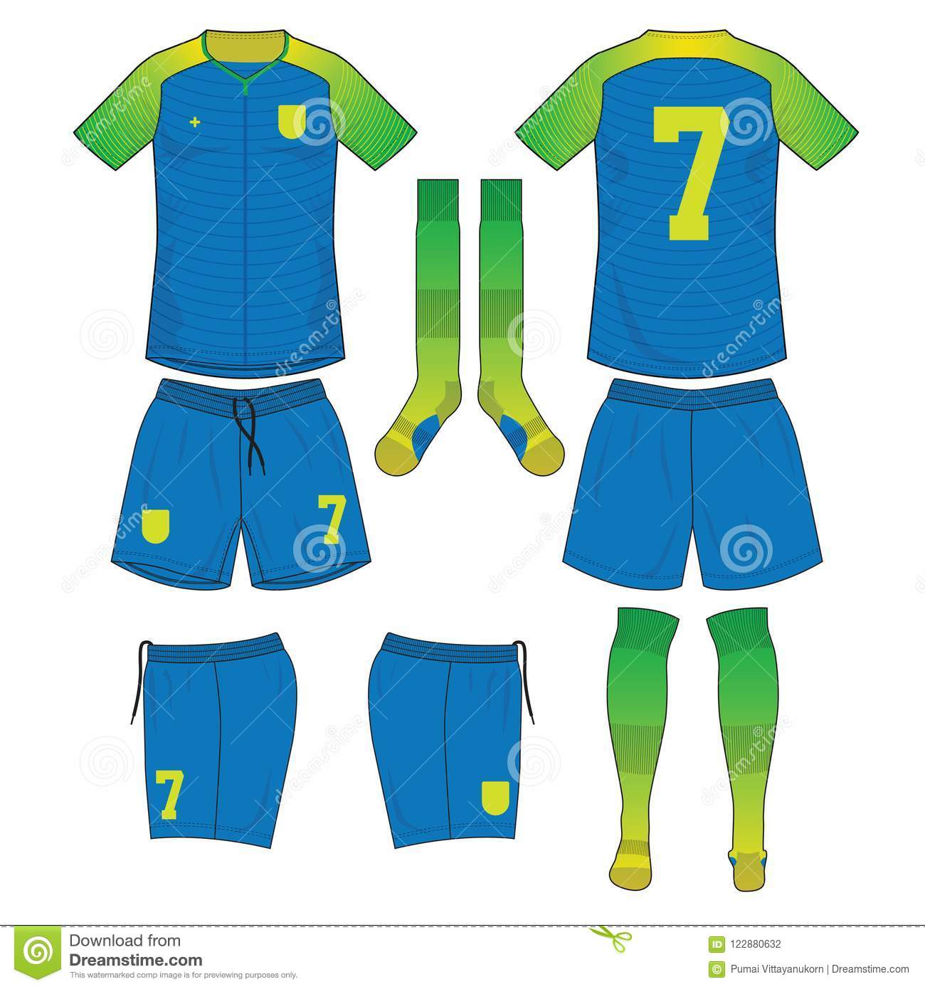 e4d51feaf Lime Green And Blue Yellow Soccer Jersey With Sock And Short Mo ...
