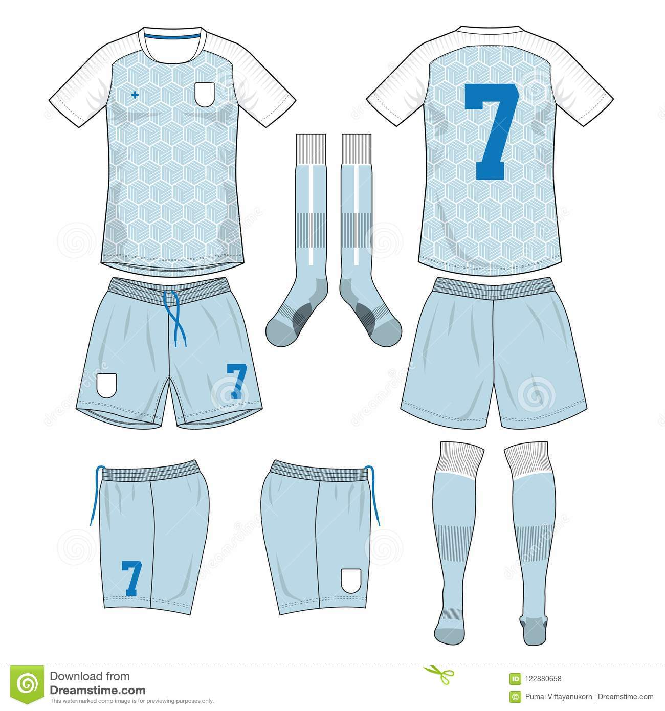 cyan and white soccer jersey with sock and short mock up stock