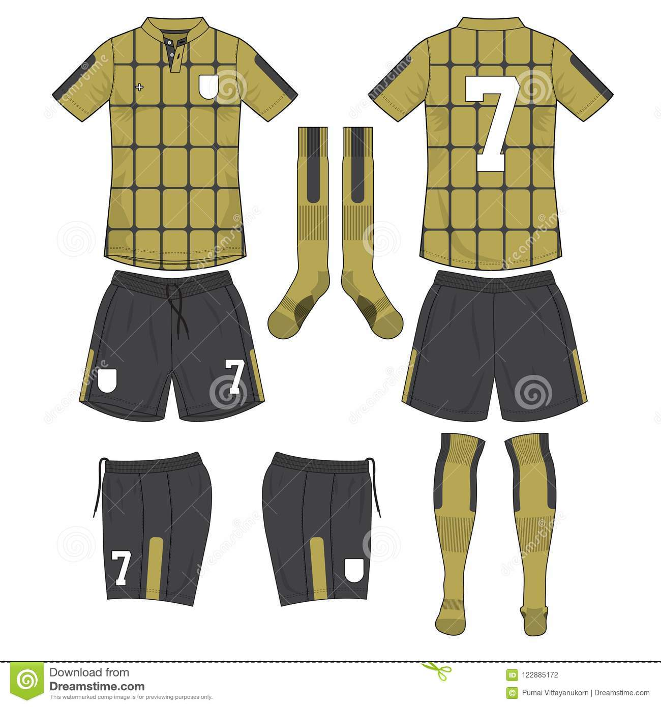 4407c5262ef51c Gold And Black Soccer Jersey With Sock And Short Mock Up Stock ...