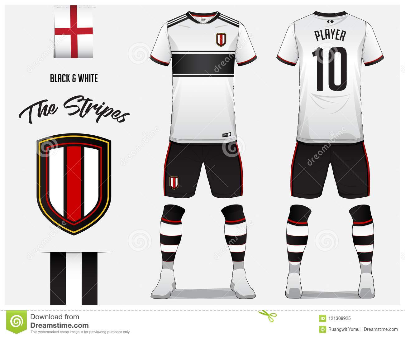 c03c5fa48 Soccer jersey or football kit template for football club. Black and white  stripe football shirt with sock and short mock up.