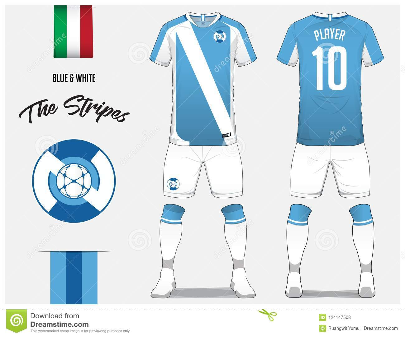 bff55d131 Soccer jersey or football kit template for football club. Blue and white  stripe football shirt with sock and white shorts mock up.