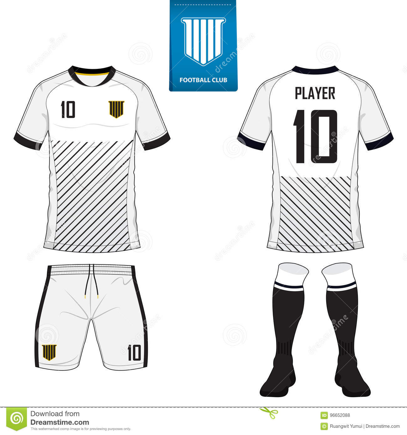 Soccer Jersey Or Football Kit Template For Club Shirt Mock Up Front