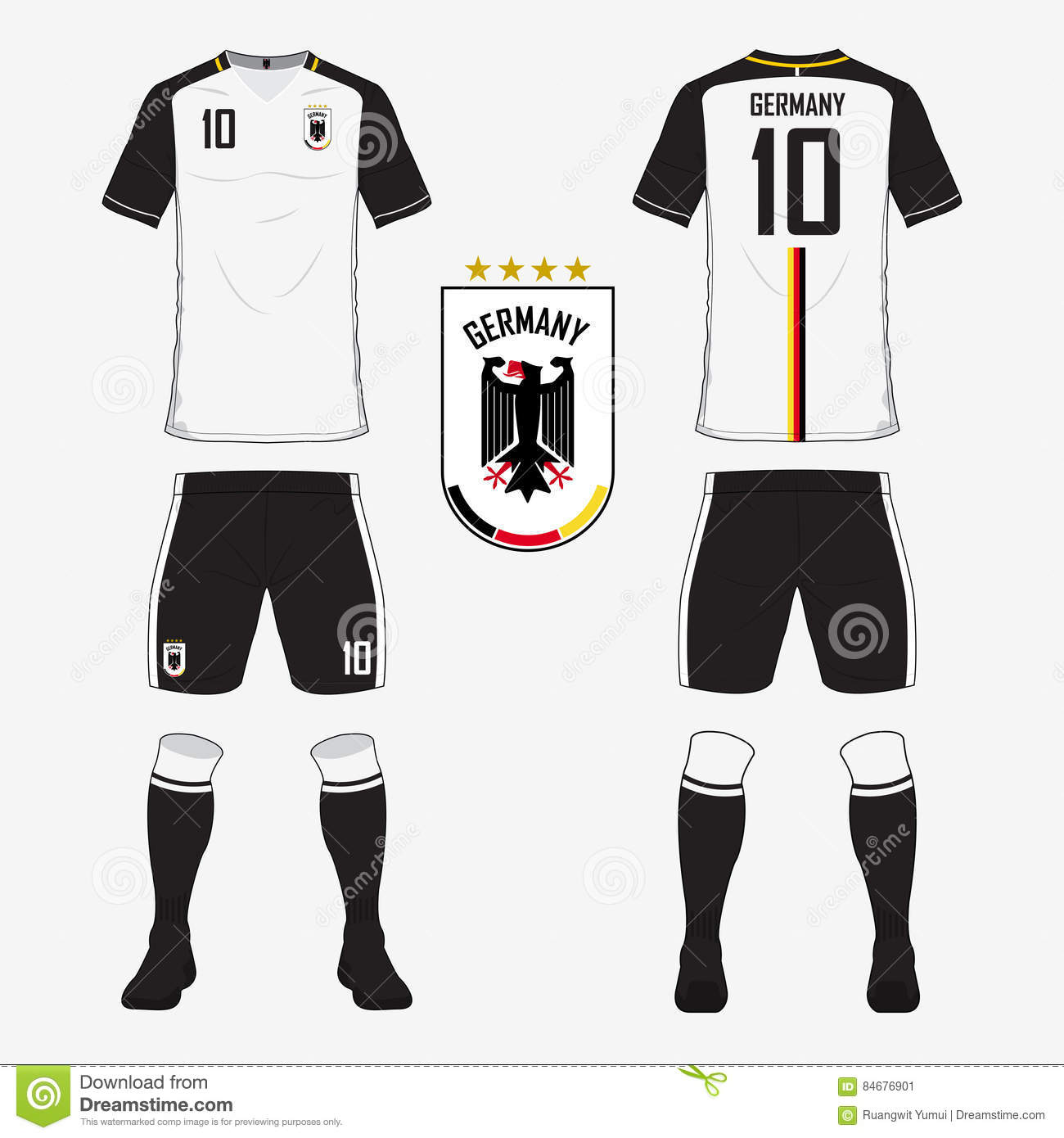 Soccer jersey or football kit template for Germany national football team. f7ba947f6