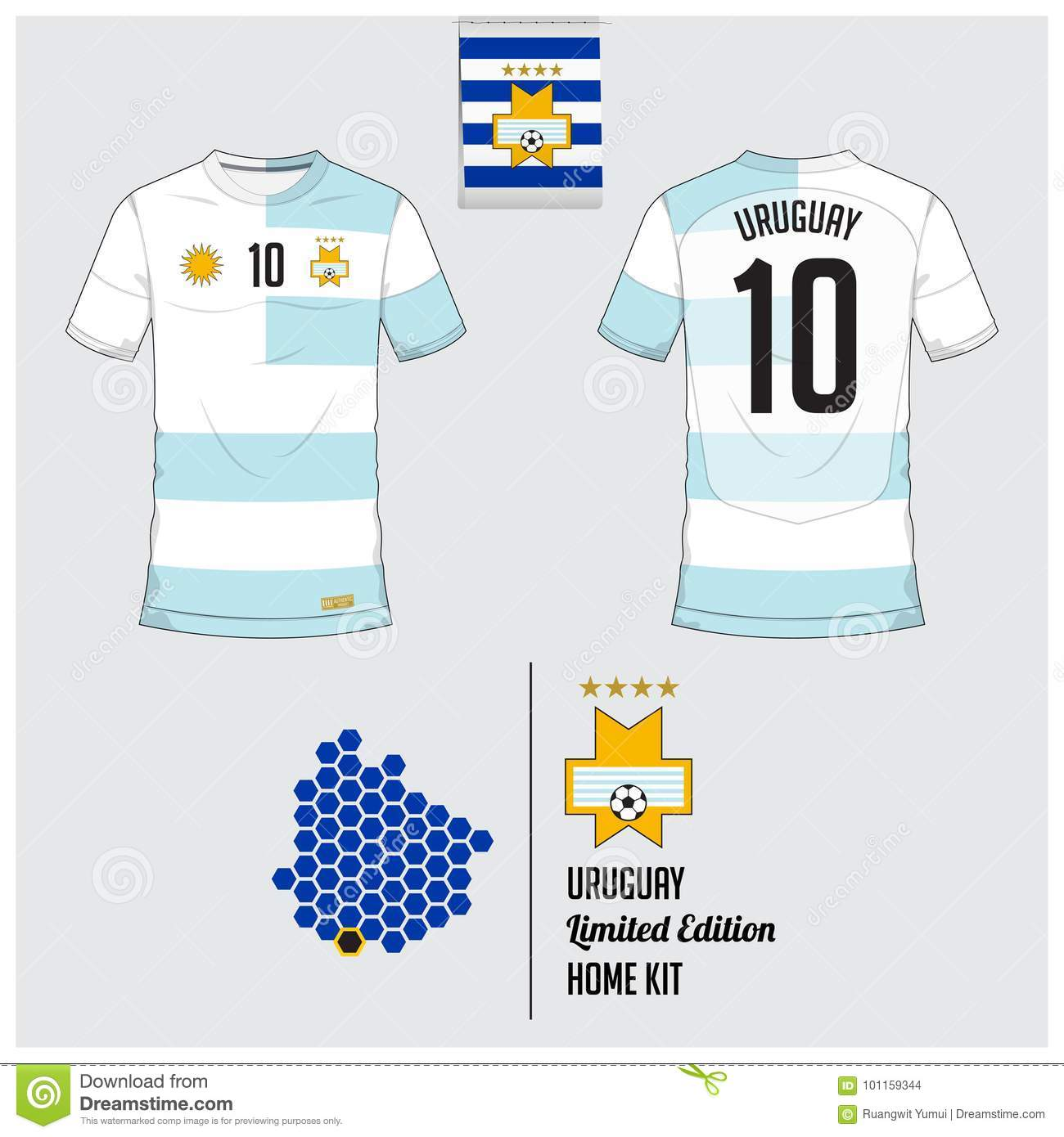 buy online da5a5 c446c Soccer Jersey Or Football Kit, Template For Uruguay National ...