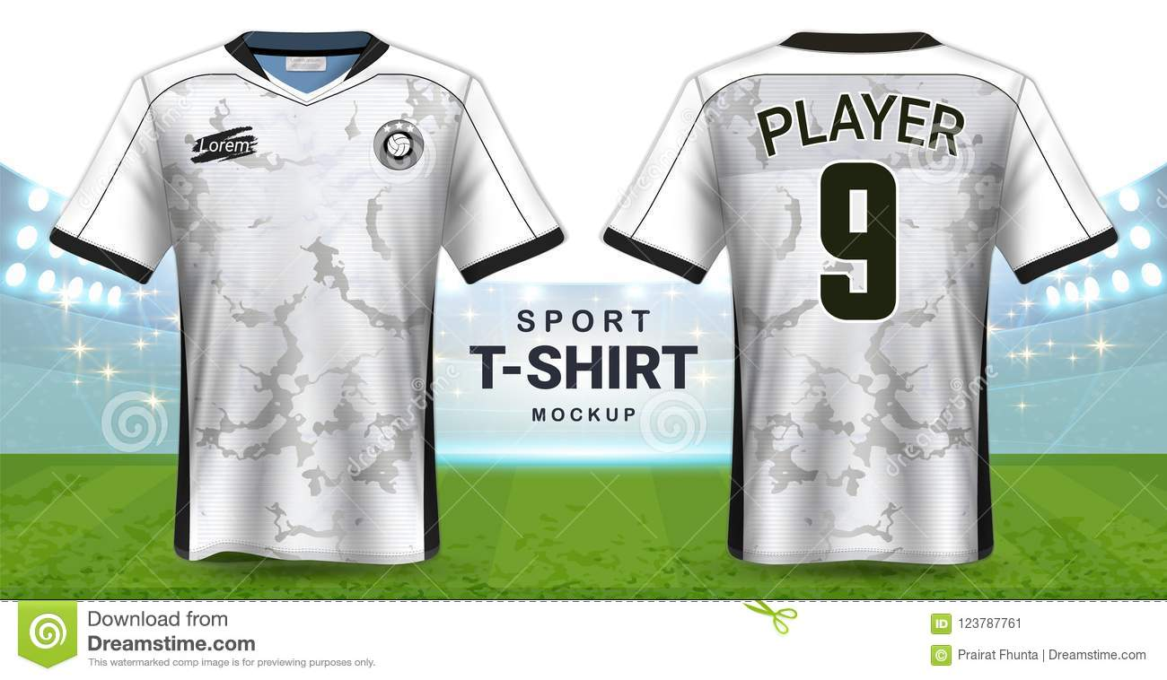 200fe6fbe Soccer Jersey And Sportswear T-Shirt Mockup Template