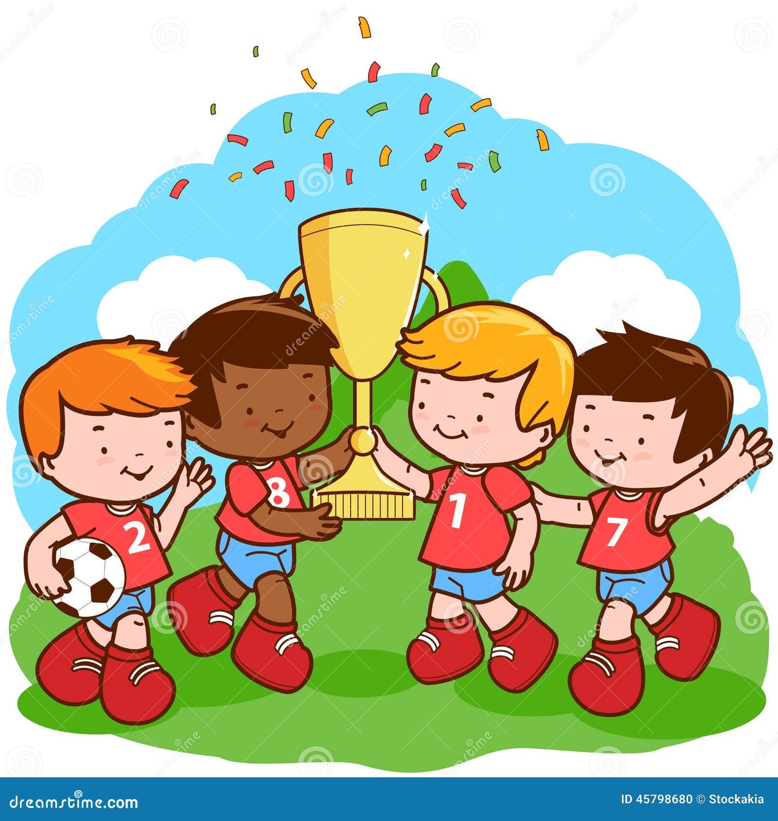 soccer kids winners stock vector illustration of award Football Field Stadium Clip Art NFL Football Field Clip Art