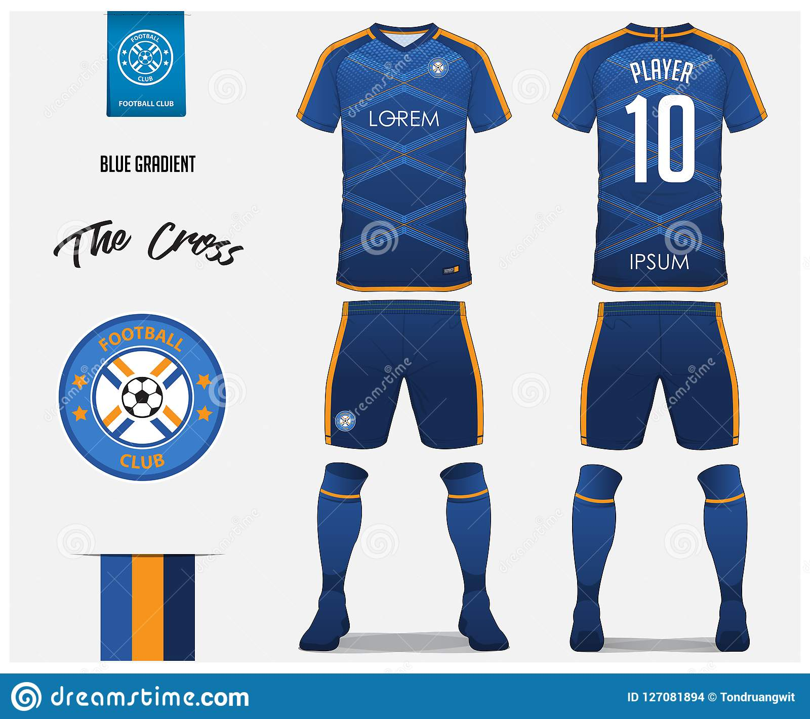 Soccer Kit Or Football Jersey Template For Club Short Sleeve Shirt Mock Up