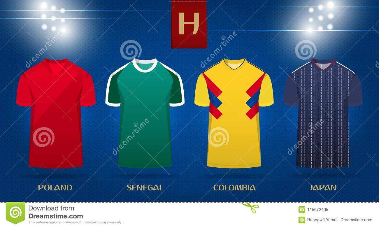 ec6618f5b4f Soccer kit or football jersey template design for national football team.  Front view soccer uniform mock up on dot pattern background. Football t- shirt for ...
