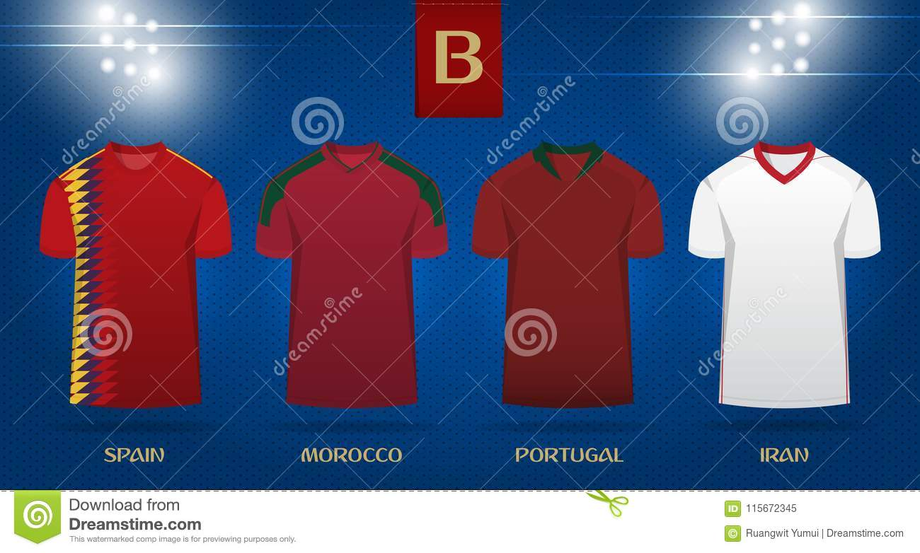 36f114796 Soccer kit or football jersey template design for national football team.  Front view soccer uniform mock up on dot pattern background.