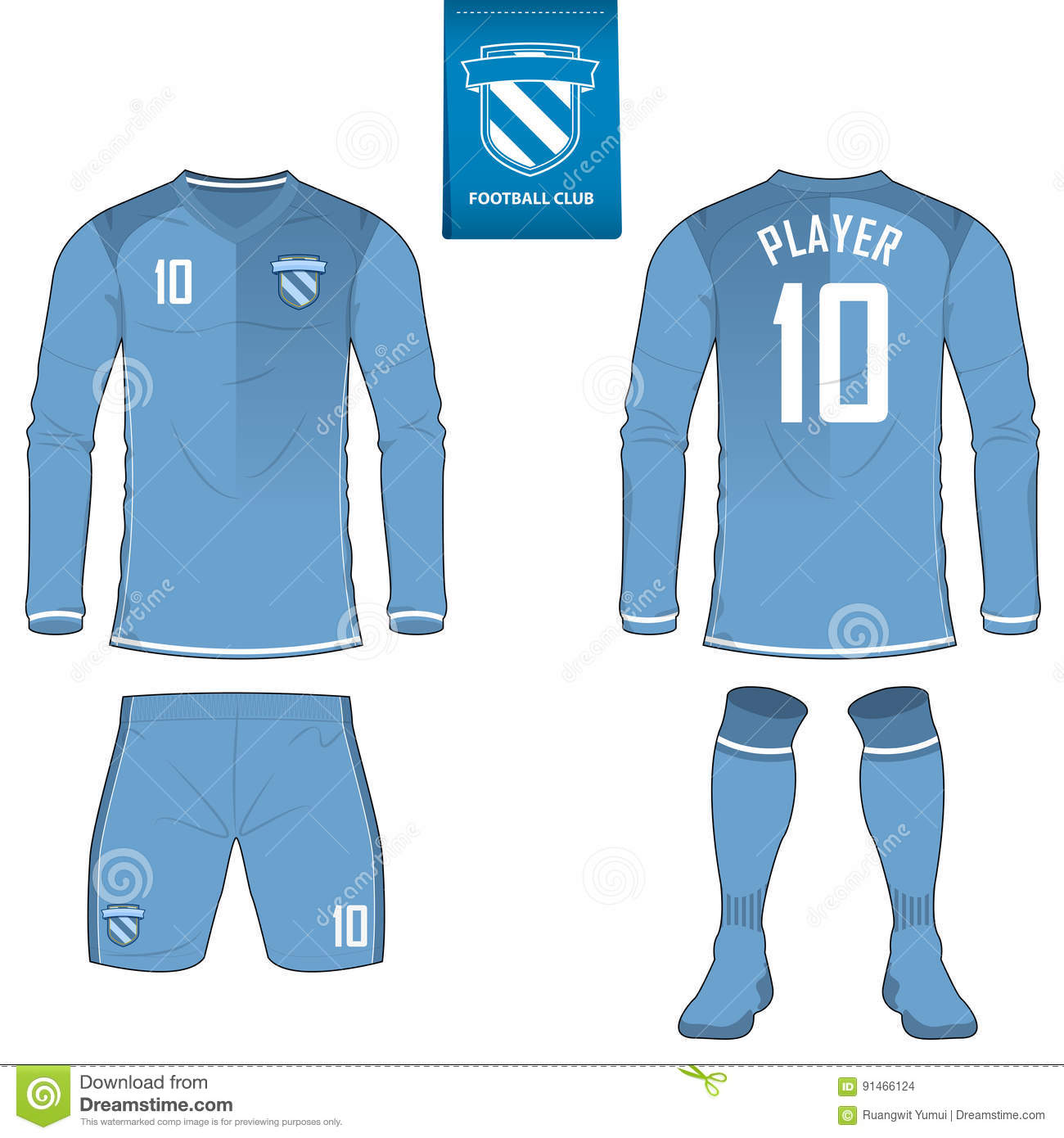 2a94f5340c0 Soccer kit or football jersey template for football club. Long sleeve football  shirt mock up. Front and back view soccer uniform.