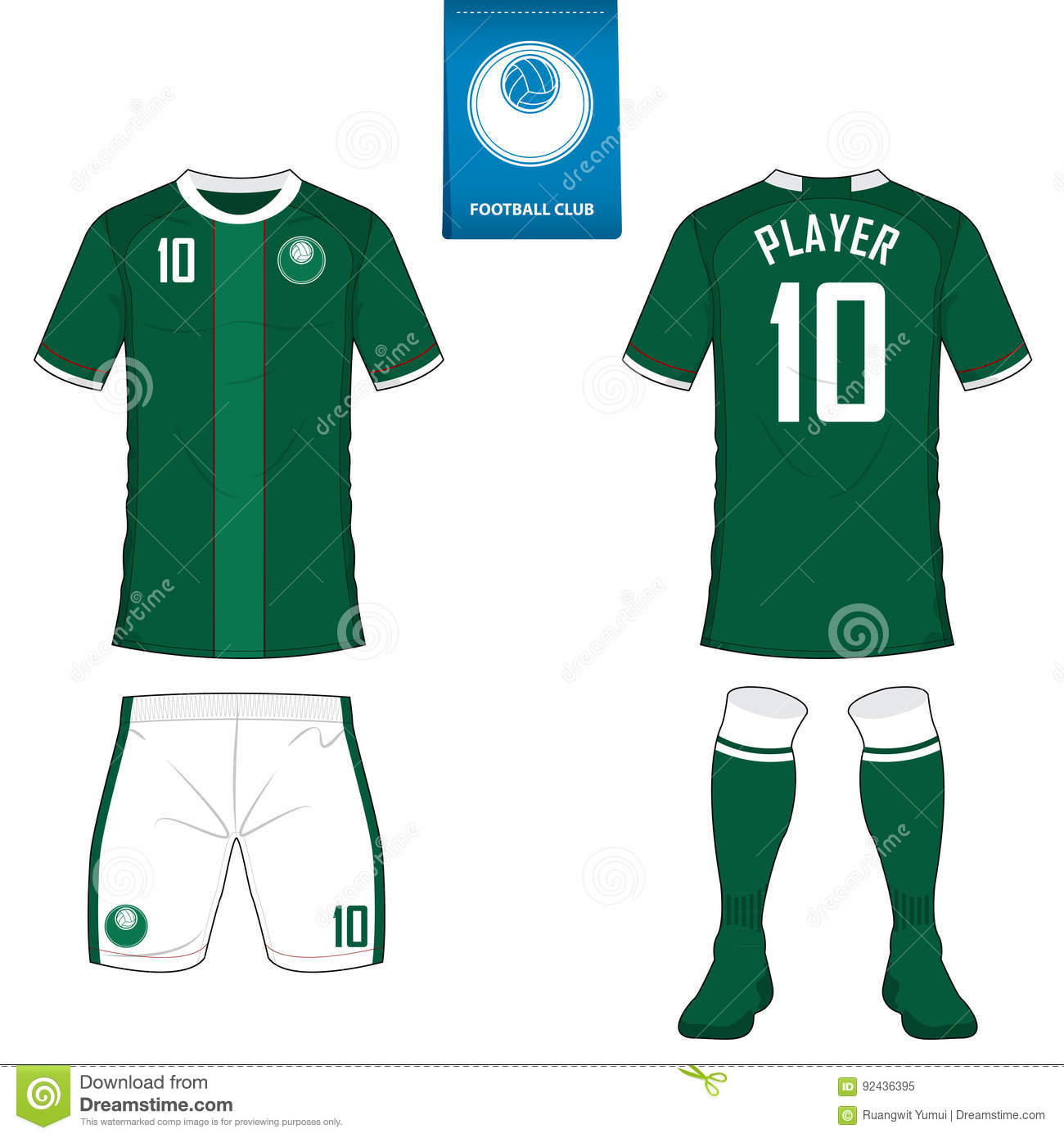 208f3c9cd Set of soccer kit or football jersey template for football club. Short  sleeve football shirt mock up. Front and back view soccer uniform.