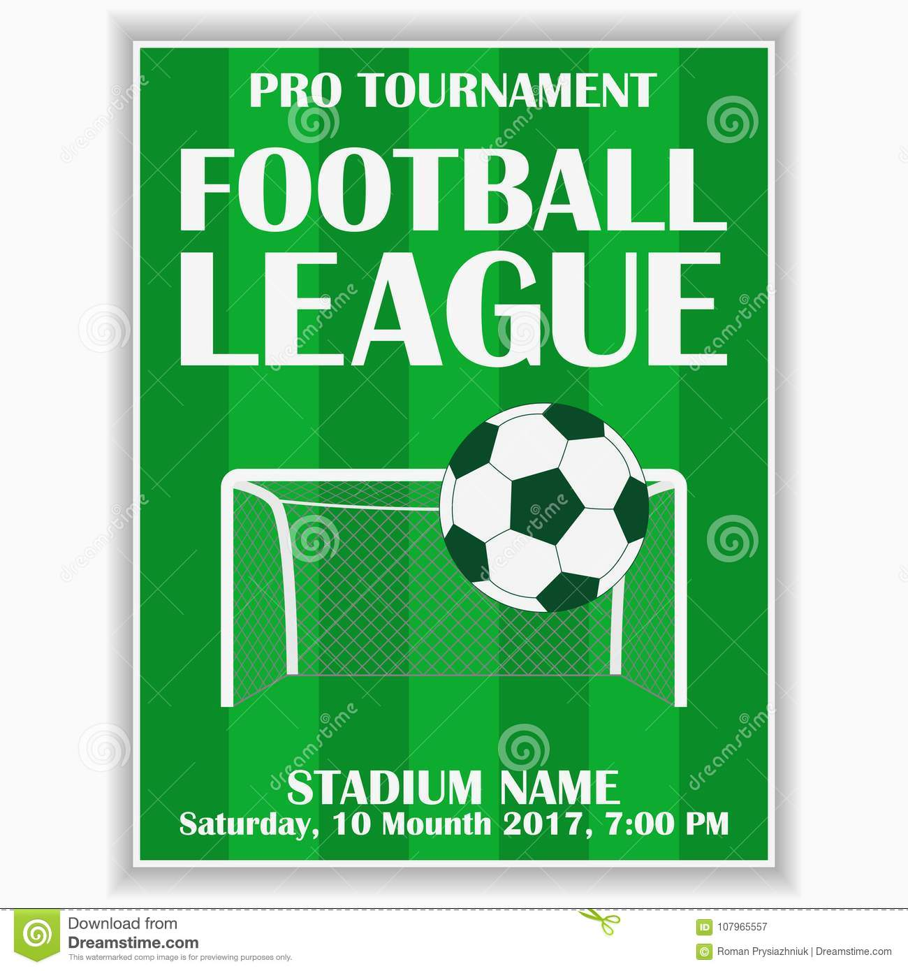 Soccer League Poster Design Template For Football Sport Invitation