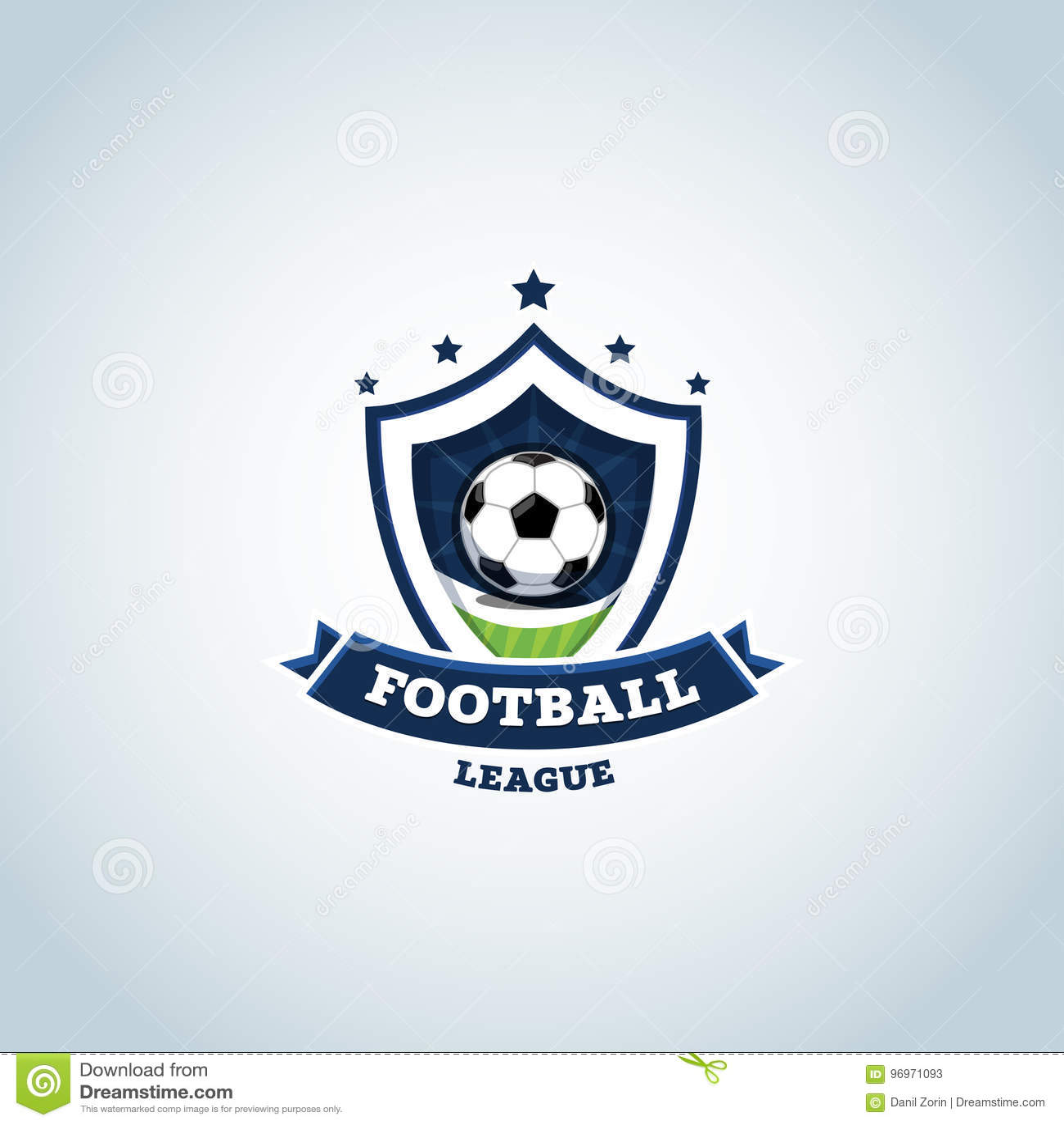 Soccer Logo Green And Dark Blue Football Badge Design Template Sport Logotype