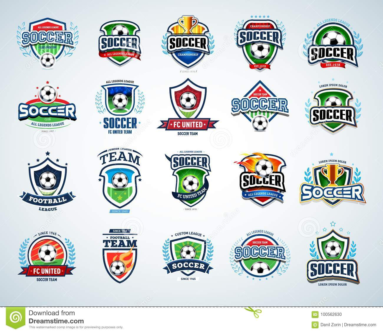 soccer logo templates set football logotypes set of soccer