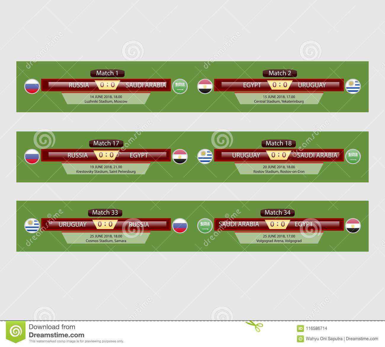 Soccer Match Schedule Vector Illustration Stock Illustration