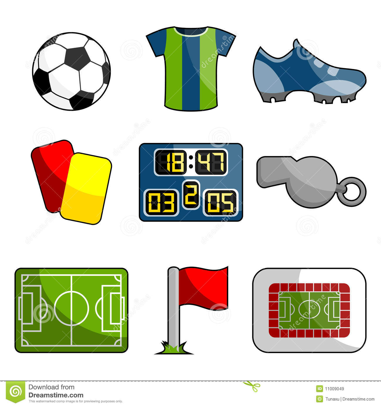 Download Soccer object icon set stock vector. Illustration of grass - 11009049