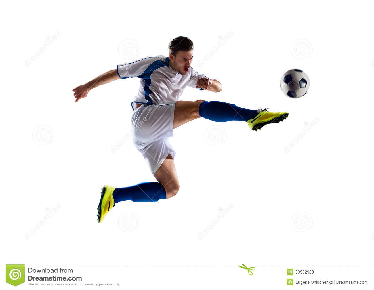 Football soccer player in action isolated white background.