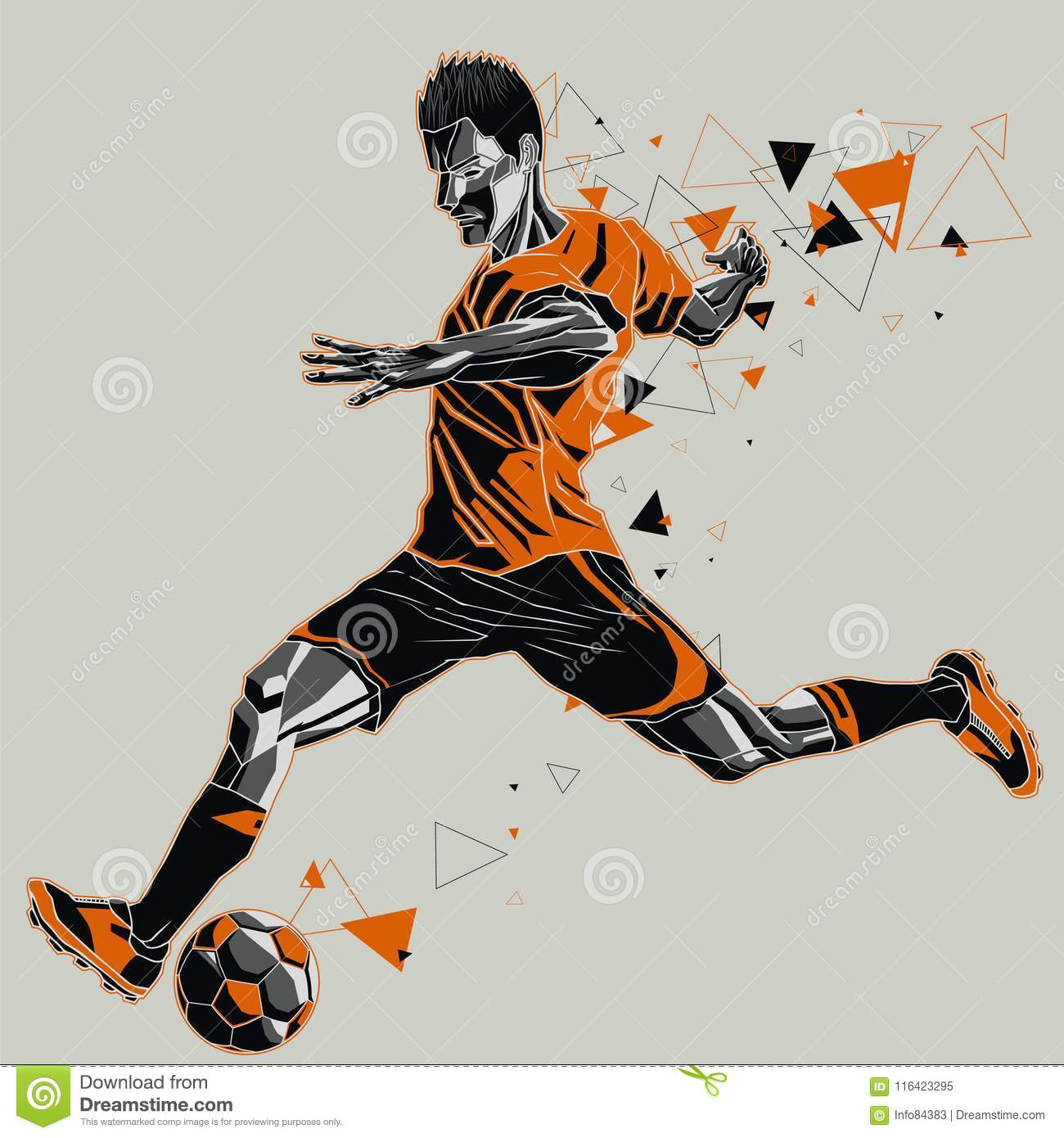 53ebba20573b Vector illustration of a soccer player in action