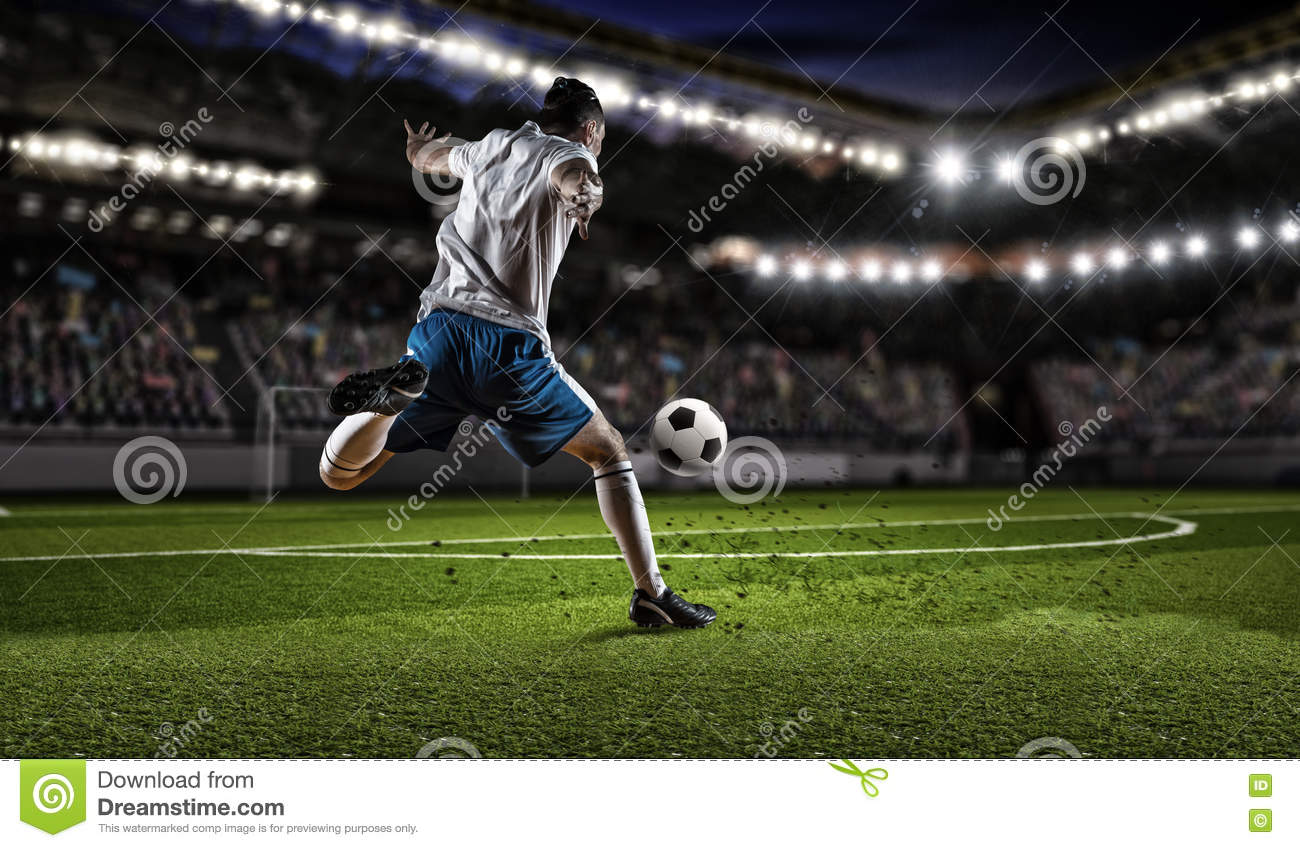 a ball hitting the soccer goal vector illustration