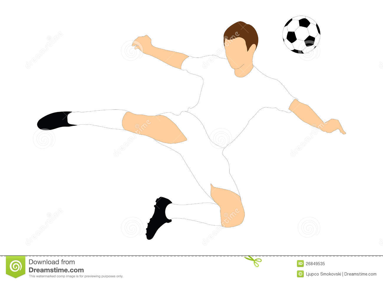 A soccer player shooting a ball with his head