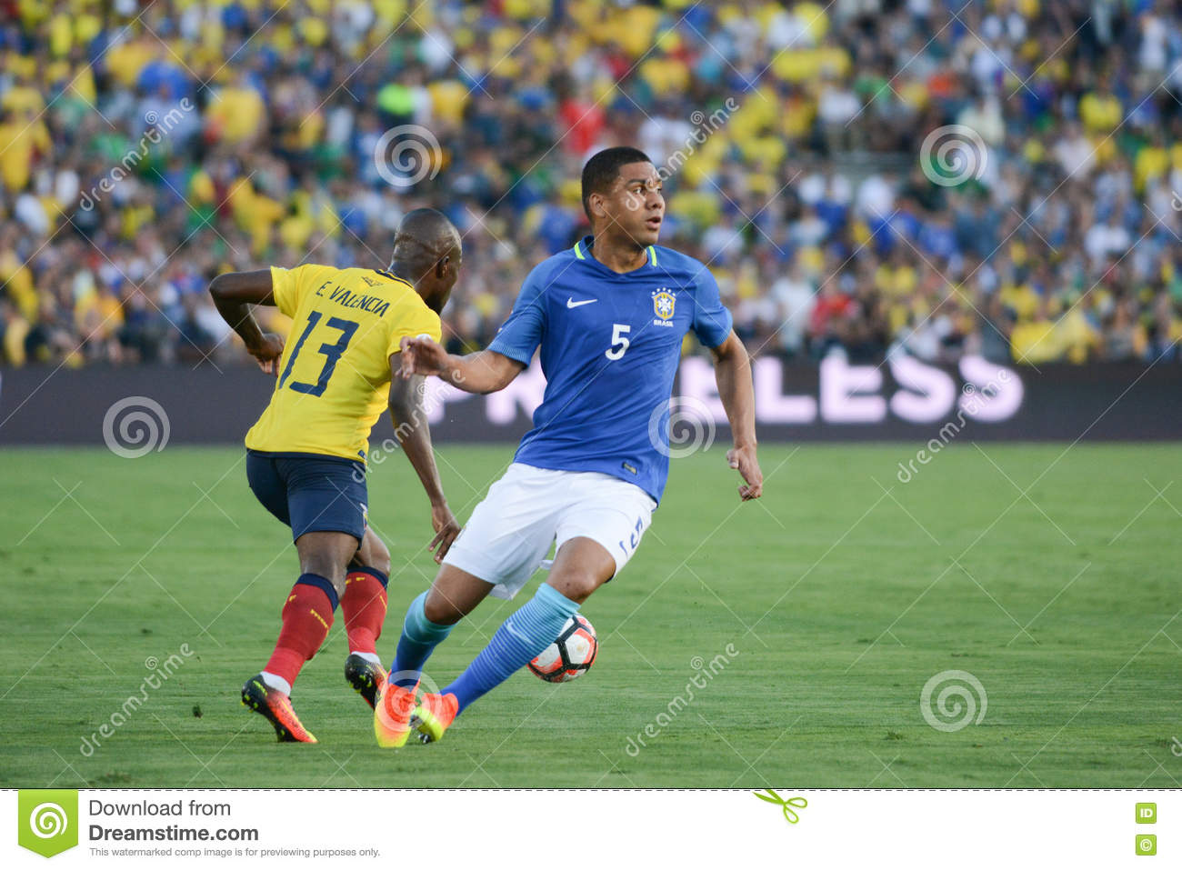 Soccer Players Enner Valencia 13 And Casemiro 5 During Copa Amer