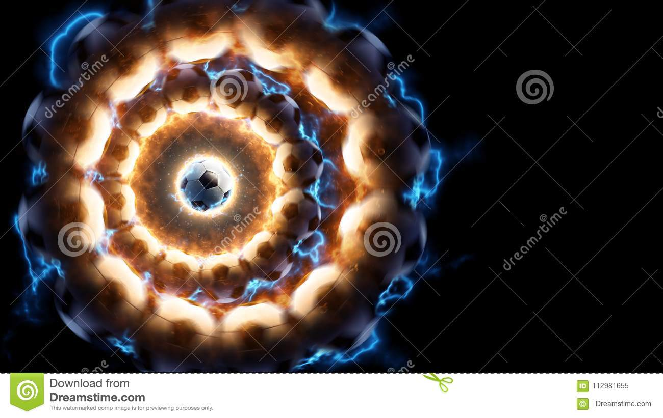 Soccer. Power energy fire and current in action around soccer ball. Black background