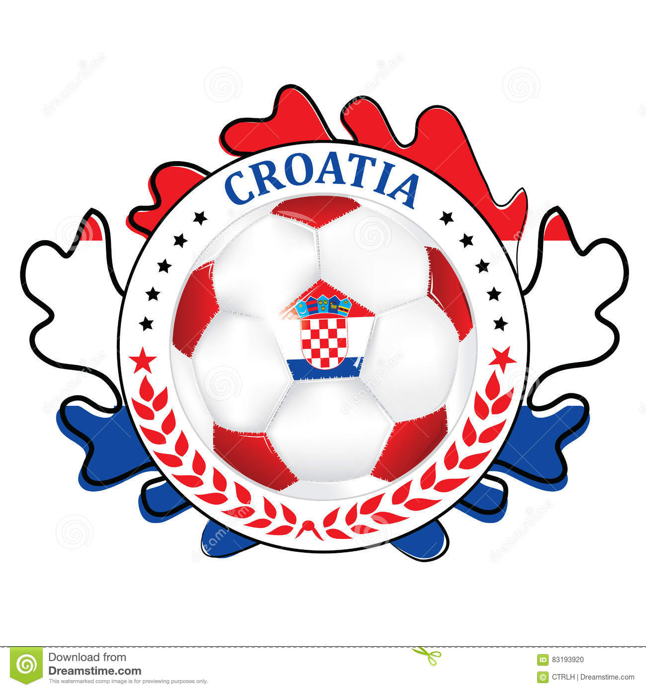 photo regarding Soccer Printable identified as Football Printable Label With Flag Of Croatia Inventory