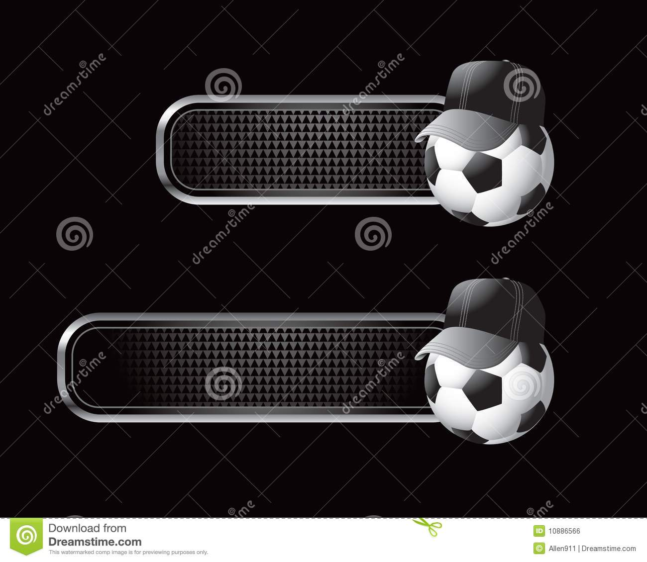Soccer ball with referee hat on black diamond textured banners. 4c208f811d0