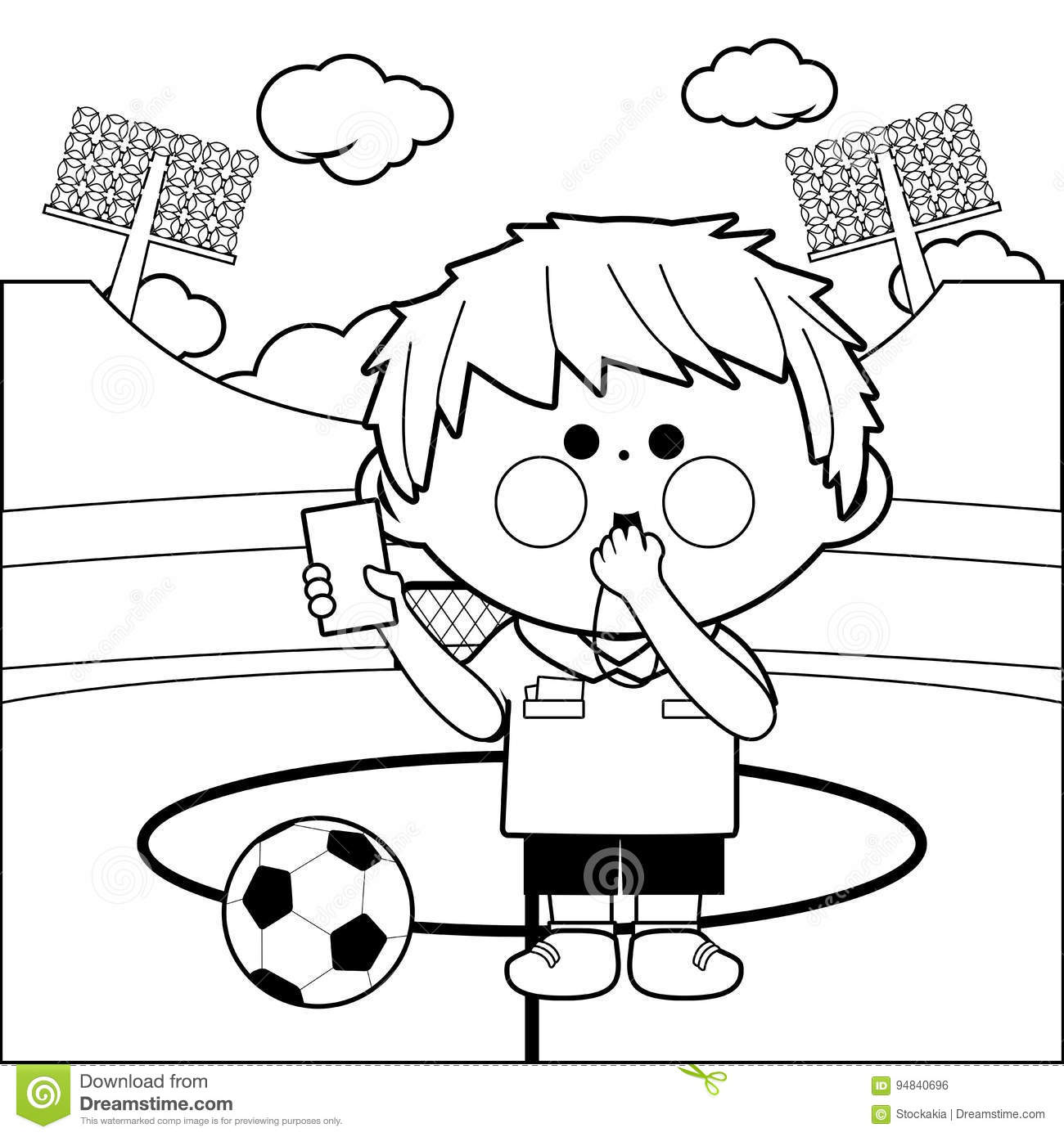 Soccer referee at a stadium blowing a whistle and showing a red card black and white coloring page illustration