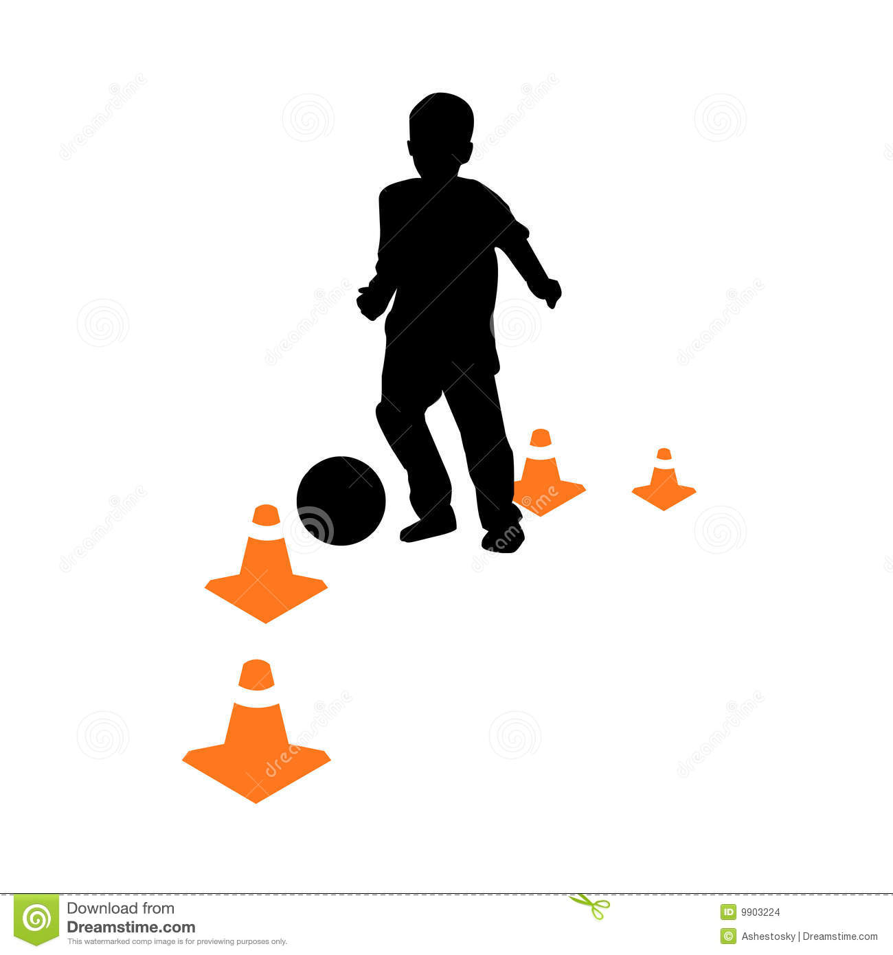 Vectored illustration of child playing soccer or european football ...