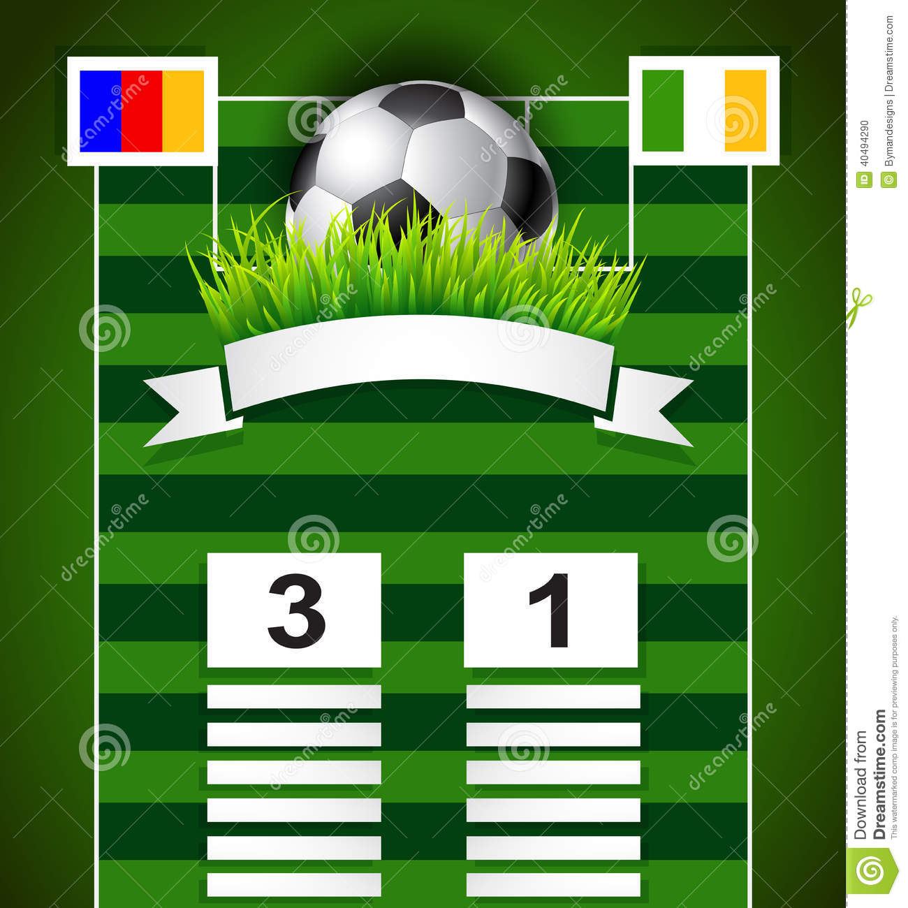 Soccer scoreboard design on field with copy space stock for Copy design