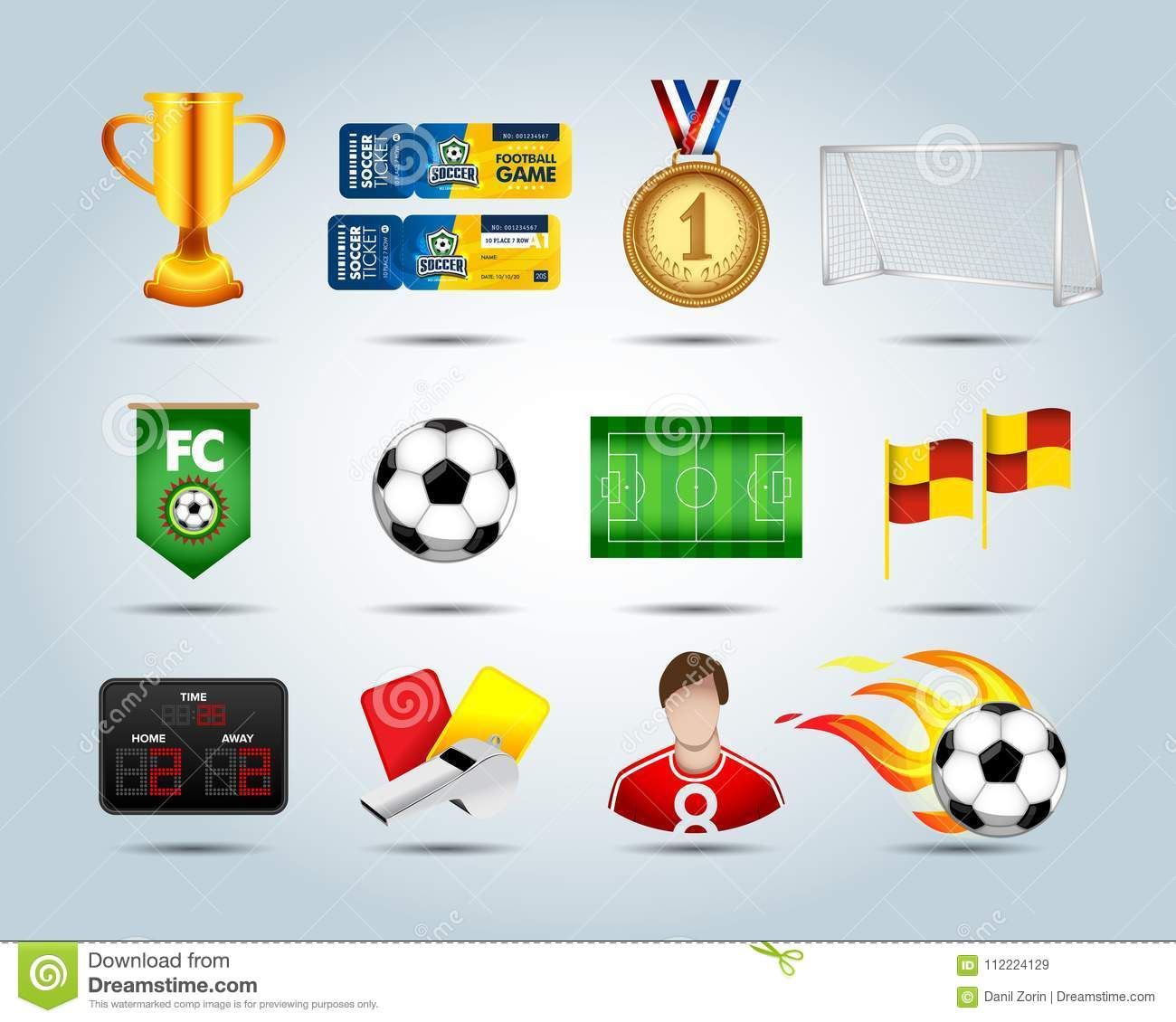 Soccer Set Of 3d Icons With Field Soccer Ball Soccer Ball In Fire