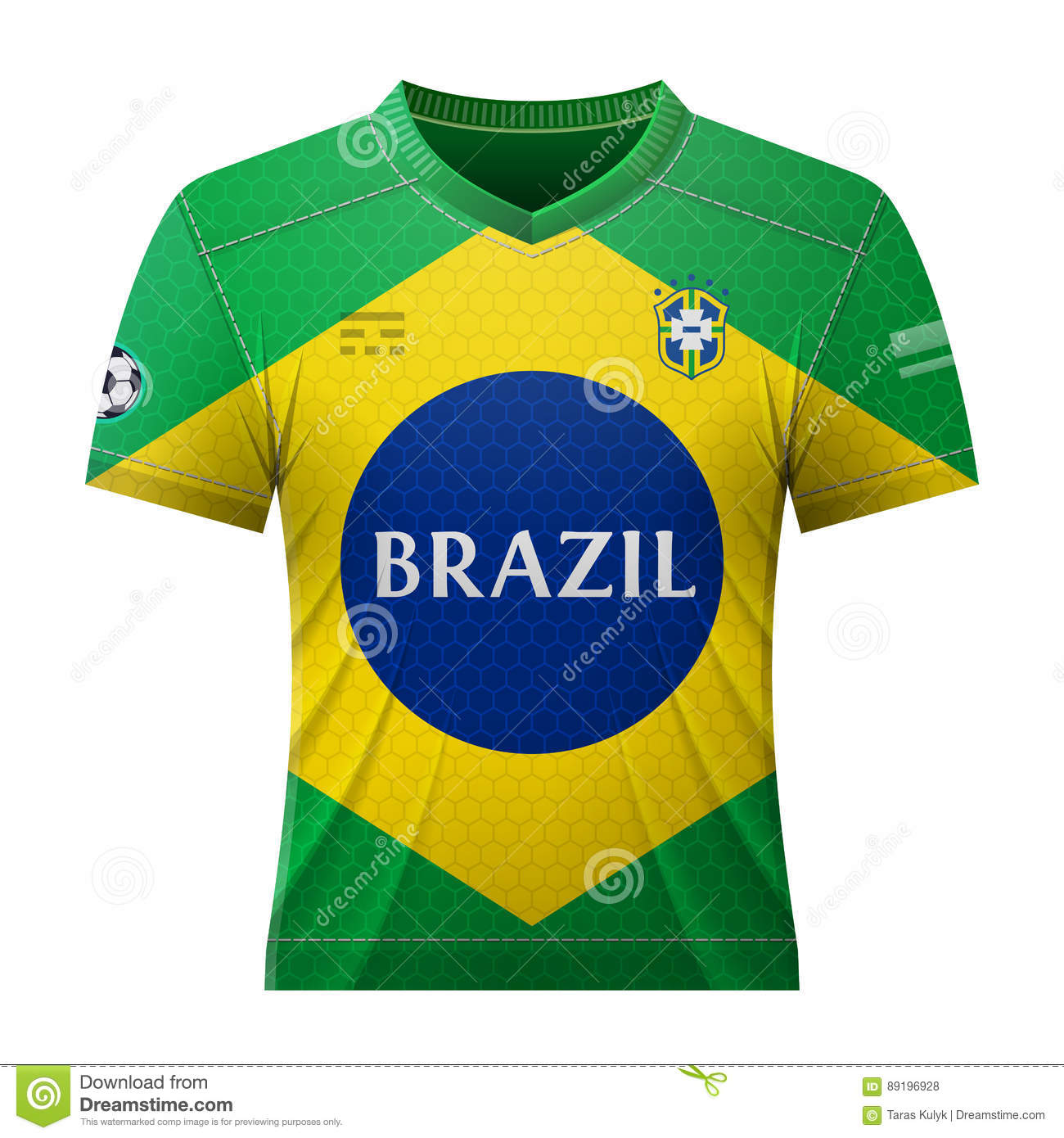 485e7a1b680 National jersey for football team of Brazil. Qualitative vector  illustration about soccer