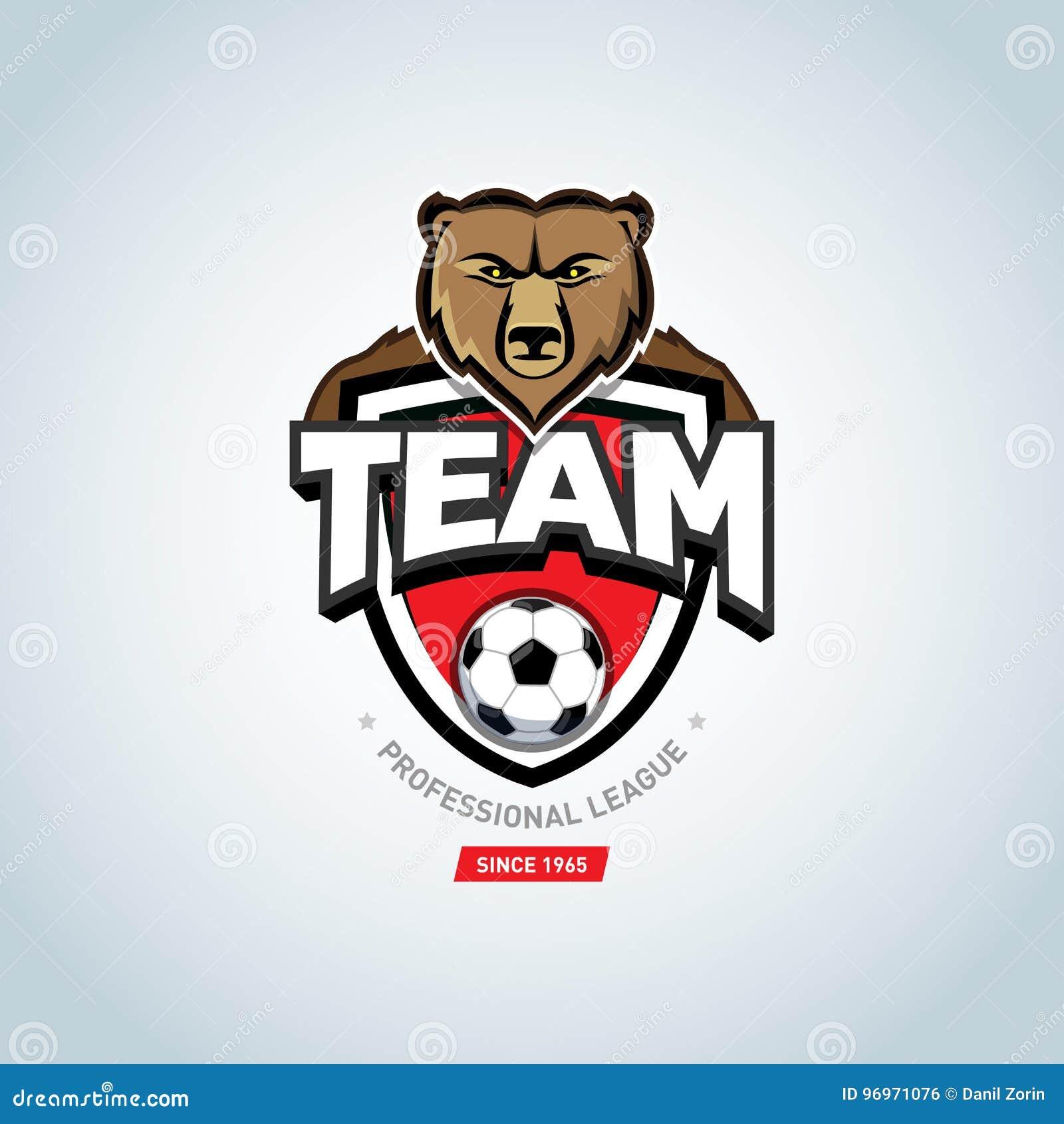 soccer sport logo bear mascot logo green soccer football badge
