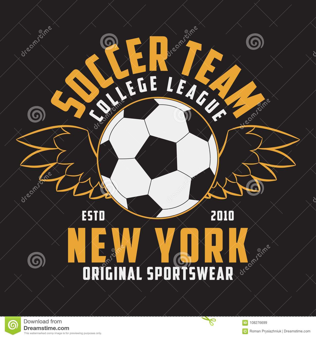 Soccer Sports Apparel With Football Ball With Wings Typography