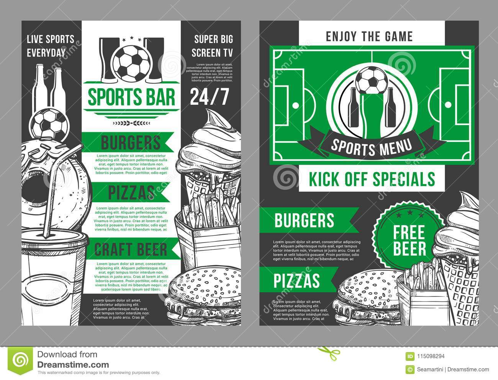 vector soccer sports bar football pub menu design stock vector
