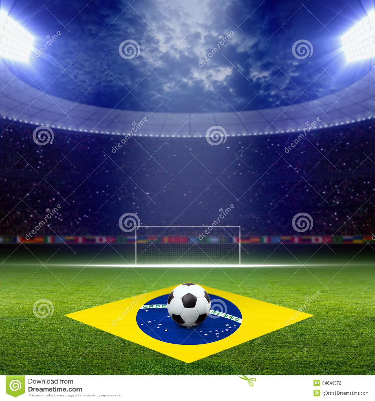 Football Stadium Night Lights: Soccer Staduim, Brazil Flag Stock Photo