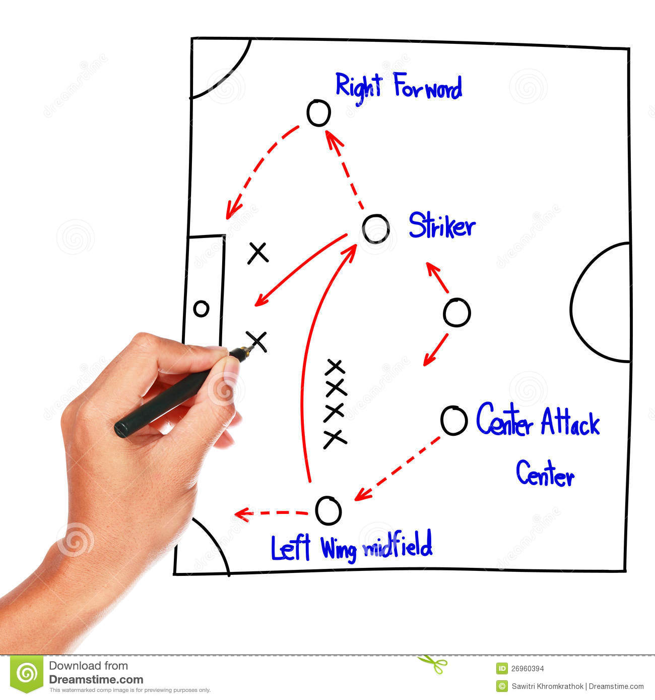 soccer strategy drawing on whiteboard stock illustration