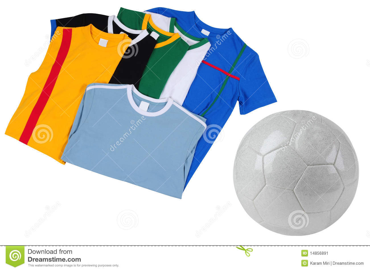 Soccer T-Shirts. Isolated