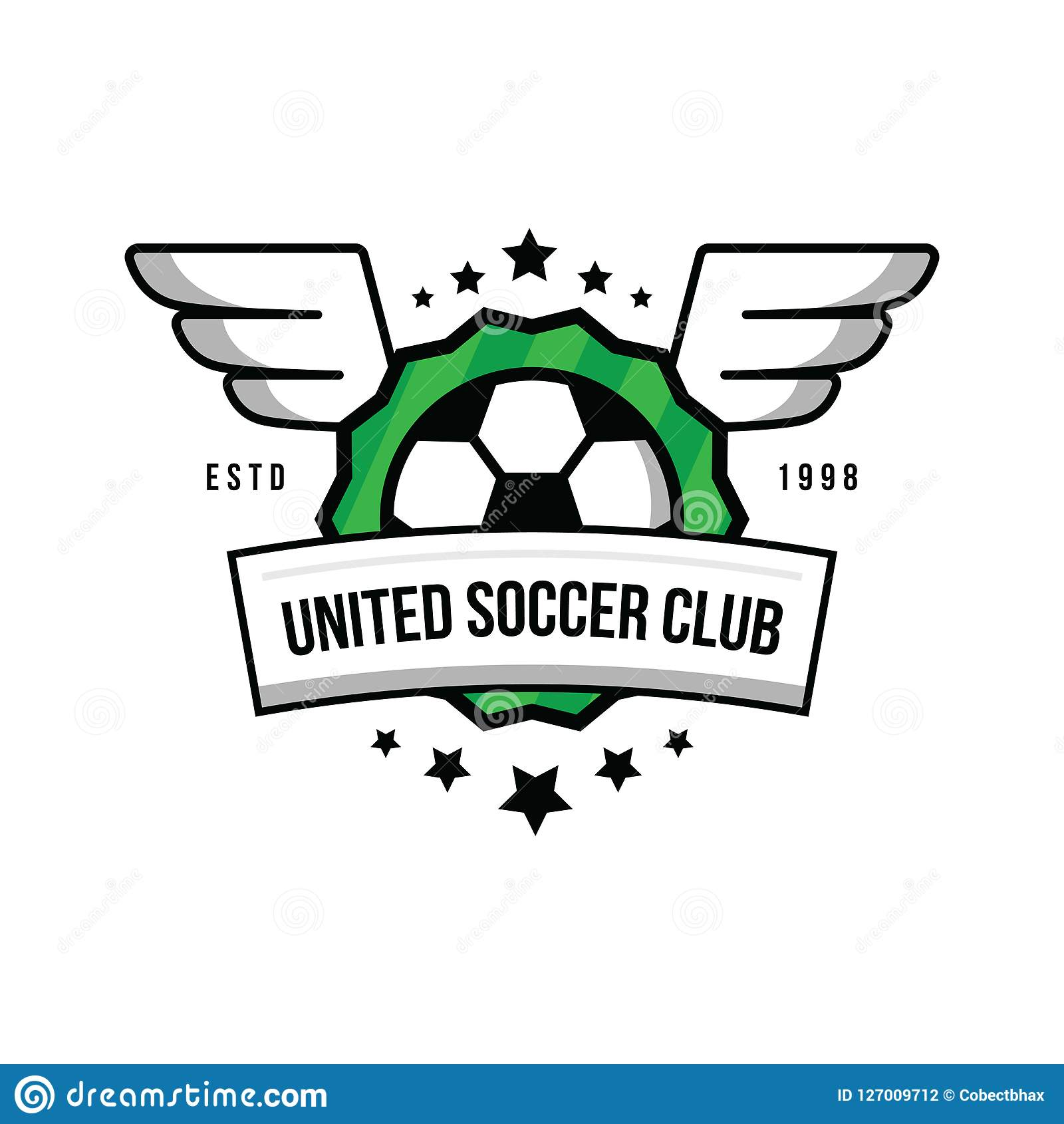 Soccer team logo with a ball and wings on a green background.Badge football team. Ball, stars, wings, shield, green lawn