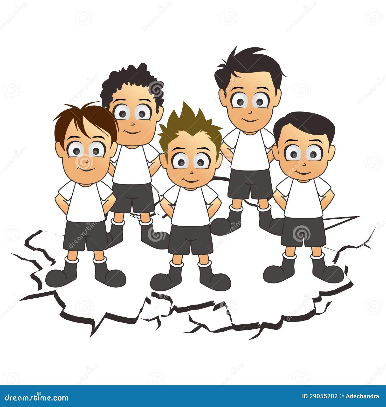 soccer team set white cartoon stock vector illustration