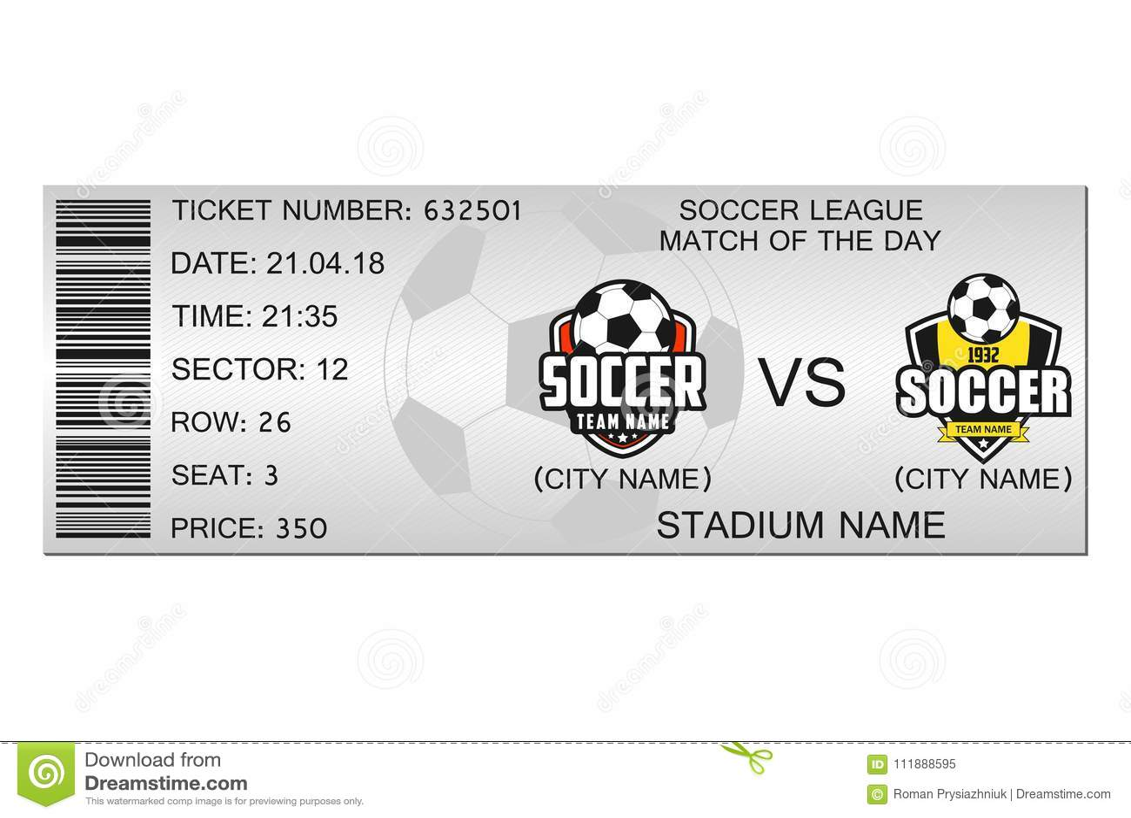 soccer ticket design template for football stadium ticket vector