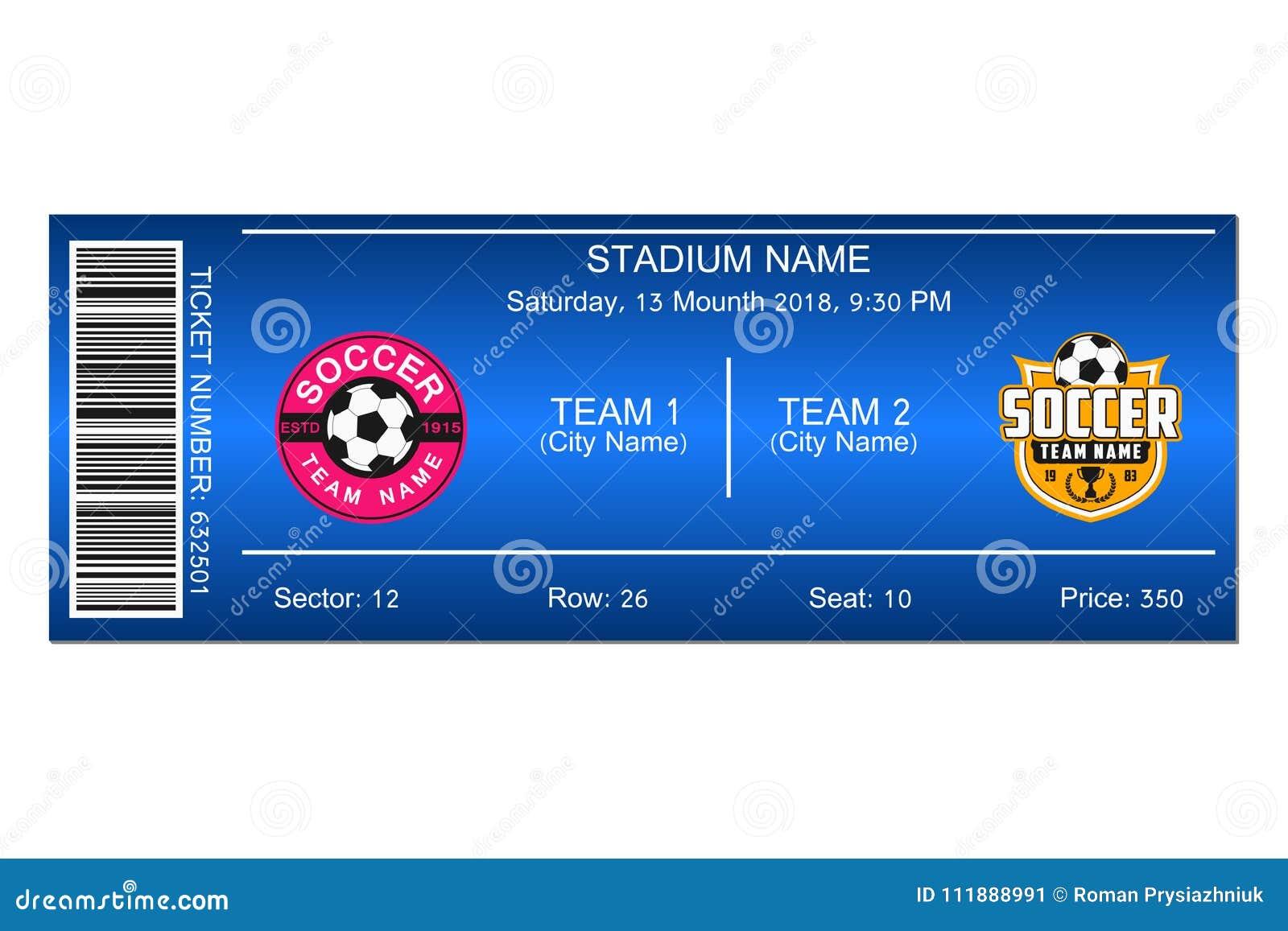 soccer ticket template design for football stadium ticket vector