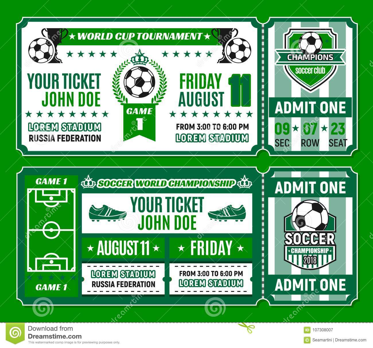 soccer ticket template of football cup tournament stock vector