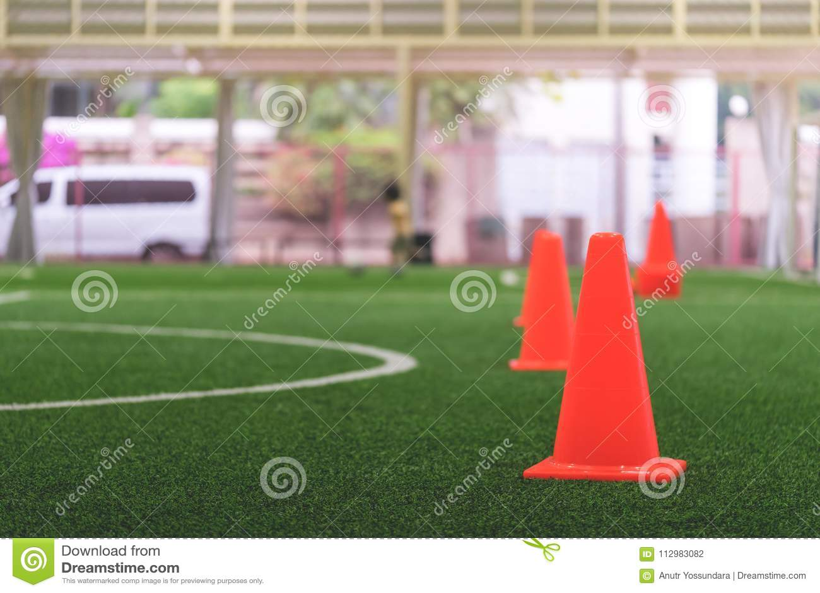 Soccer training equipments on sport training ground