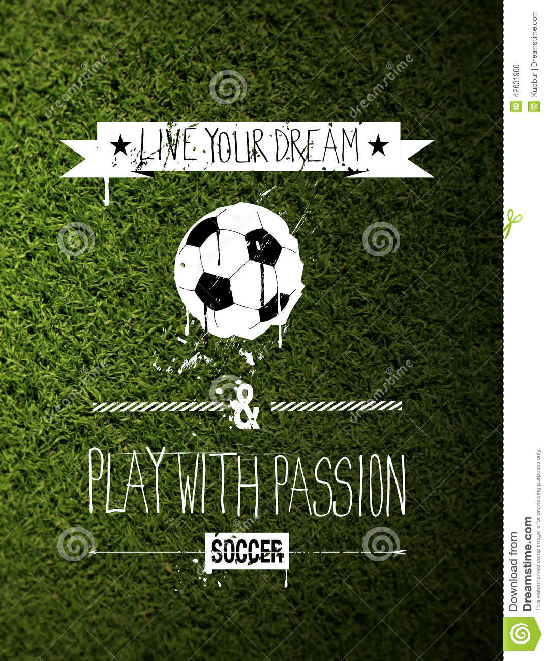 Soccer Quote Soccer Typography Quote On Grass Stock Photo  Image 42631900
